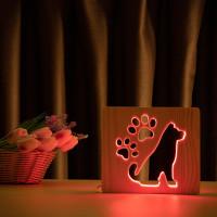 """Светильник ночник из дерева LED """"Собака и следы"""" с пультом и регулировкой цвета, RGB"""