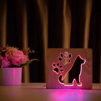 """Светильник ночник из дерева LED """"Собака и следы"""" с пультом и регулировкой цвета, двойной RGB"""