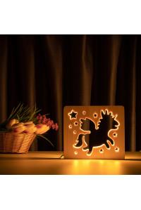 """Светильник ночник из дерева LED """"Волшебный единорог"""" с пультом и регулировкой света, цвет теплый белый"""