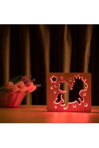 """Светильник ночник из дерева LED """"Волшебный единорог"""" с пультом и регулировкой цвета, RGB"""