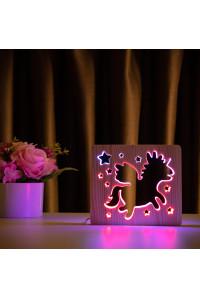 """Светильник ночник из дерева LED """"Волшебный единорог"""" с пультом и регулировкой цвета, двойной RGB"""