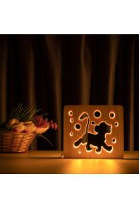 """Светильник ночник из дерева LED """"Веселый львенок"""" с пультом и регулировкой света, цвет теплый белый"""