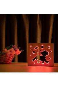 """Светильник ночник из дерева LED """"Веселый львенок"""" с пультом и регулировкой цвета, RGB"""