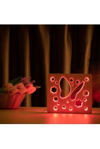 """Светильник ночник из дерева LED """"Бабочка"""" с пультом и регулировкой цвета, RGB"""