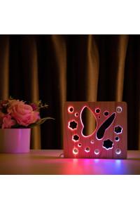 """Светильник ночник из дерева LED """"Бабочка"""" с пультом и регулировкой цвета, двойной RGB"""
