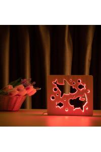 """Светильник ночник из дерева LED """"Две акулы и рыбки"""" с пультом и регулировкой цвета, RGB"""