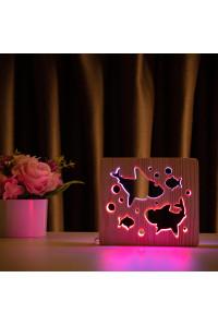 """Светильник ночник из дерева LED """"Две акулы и рыбки"""" с пультом и регулировкой цвета, двойной RGB"""