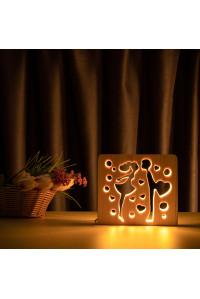 """Светильник ночник из дерева LED """"Влюбленная пара"""" с пультом и регулировкой света, цвет теплый белый"""