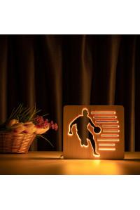 """Светильник ночник из дерева LED """"Баскетболист с мячем"""" с пультом и регулировкой света, цвет теплый белый"""