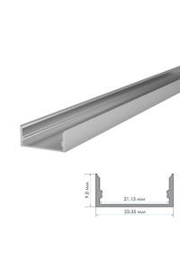 Профиль для LED лент накладной ПФ-25 полуматовый рассеиватель (комплект) 2м