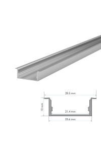 Профиль для LED лент накладной ПФ-26 полуматовый рассеиватель (комплект) 2м