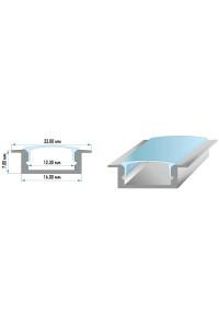 Профиль светодиодный врезной ПФ-19 рассеиватель (комплект) 2m