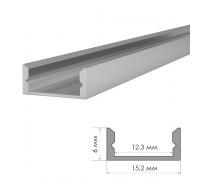 Профиль для LED лент накладной ПФ-18 без покрытия с полумат.рассеивателем (комплект) 2м