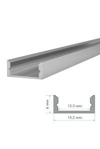 LED профиль ПФ-18 анодированный накладной с рассеивателем (комплект) 2м